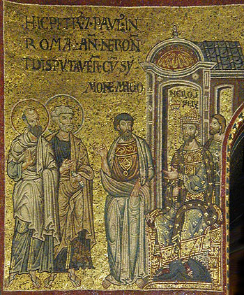 The holy Apostles Peter and Paul before Nero. Byzantine mosaic.