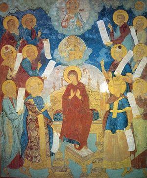 Похвала Богоматери. Фрески Софийского собора в Вологде. 1686-1688 гг.