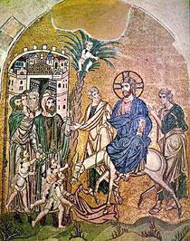 Вход Господень в Иерусалим. Византийская фреска.