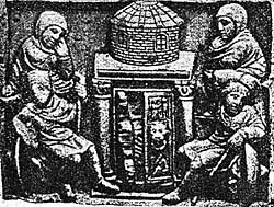 Мироносицы у Гроба Господня. Плакетка из слоновой кости. IV–V вв. Британский музей, Лондон.