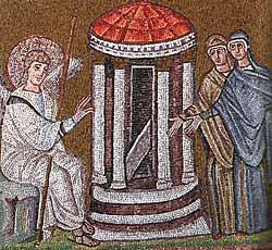 Мироносицы у Гроба Господня. Мозаика. Церковь св. Аполлинария, Равенна, Италия. VI в.
