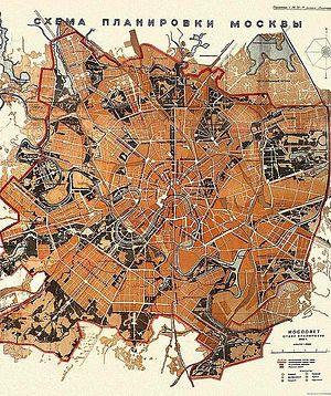 Загрузить увеличенное изображение. 570 x 680 px. Размер файла 193793 b.  Генеральный план реконструкции Москвы. 1935 г.