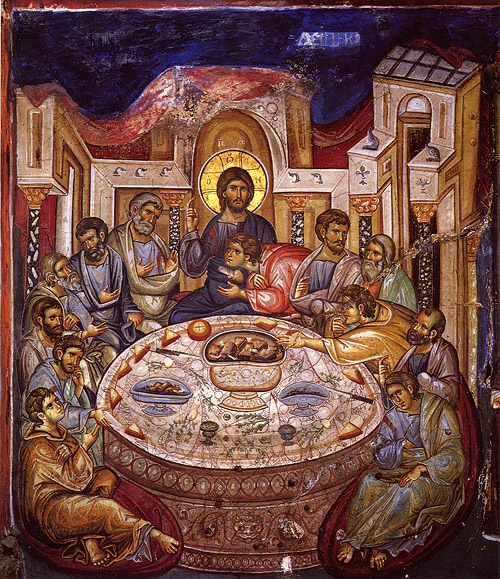 The Mystical (Last) Supper. Fresco, Catholicon of Vatopedi Monastery, Mt. Athos. 1312.