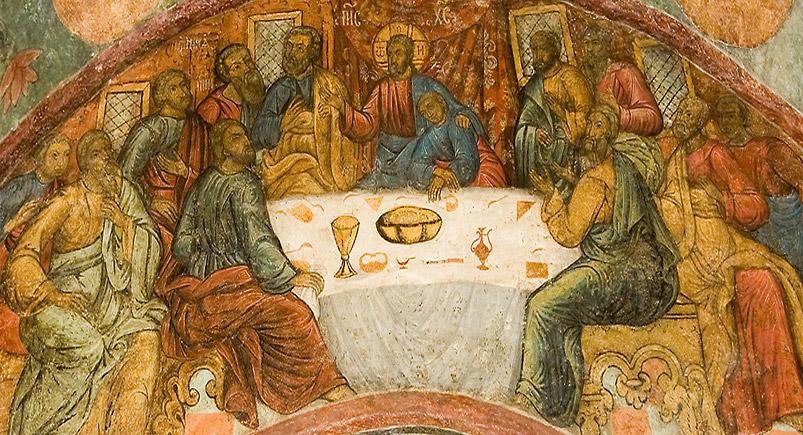 Liturgia Divina nel monastero Sretensky su Giovedi Santo dans immagini sacre