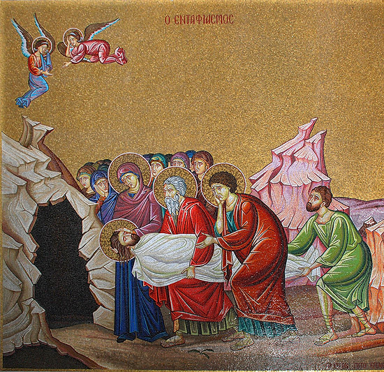 The Entombment of Christ. Mosaic Church of the Resurrection in Jerusalem. Photo: A.Pospelov / Pravoslavie.Ru