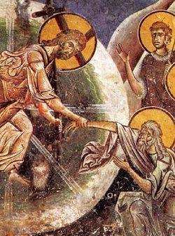 Загрузить увеличенное  изображение. 800 x 840 px. Размер файла 194608 b.  Сошествие во Ад. Фреска церкви святого Георгия в Курбиново. Сербия
