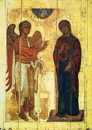 Устюжское Благовещение. Икона. XII в. Третьяковская галерея. Москва