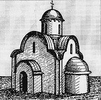 Церковь преподобной Марии Египетской 1385 года. Реконструкция Г. А. Романова