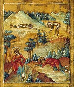 Прп. Мария Египетская в пустыне. Клеймо иконы