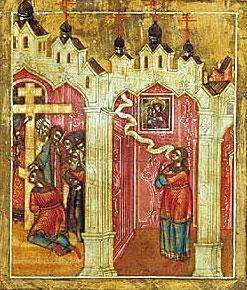 Мария слезно молит Богородицу о прощении. Клеймо иконы
