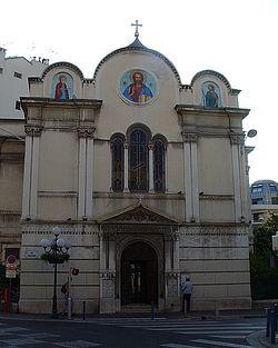 Загрузить увеличенное изображение. 500 x 625 px. Размер файла 67755 b.  Ницца. Церковь святителя Николая и мученицы царицы Александры (т.н. Старая церковь)