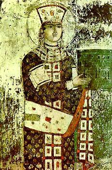Святая царица Тамар. Фреска в Вардзиа