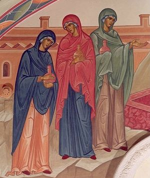 The Myrrh-Bearing Women. Wall painting in the lower church of Christ the Savior Cathedral. Photo: hramdecor.ru