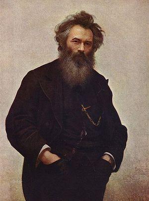 Загрузить увеличенное изображение. 444 x 599 px. Размер файла 41855 b.             Иван Крамской. Портрет художника И. И. Шишкина. 1880