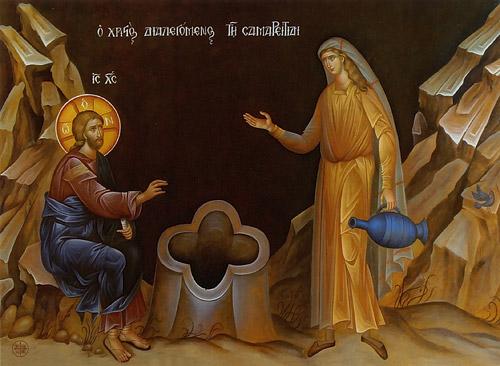 Христос и самарянка. Фреска женского исихастирия св. Иоанна Богослова в Суроти, Греция