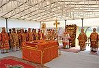 В день Собора новомучеников, в Бутове пострадавших, Святейший Патриарх Кирилл совершил Божественную литургию на Бутовском полигоне