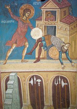 Табл. 5. Святой Нестор убивает Лия. Фреска из храма Христа Пантократора. Дечаны, Сербия. XIV в.