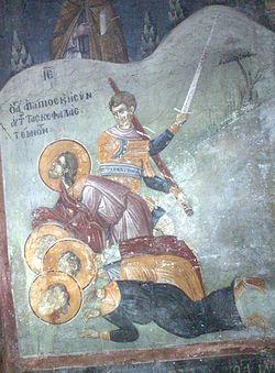 Табл. 8. Усекновение святого Агапия и других святых. Фреска. Грачаница. XIV в.