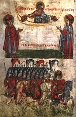 Христос подает венцы святым Борису и Глебу