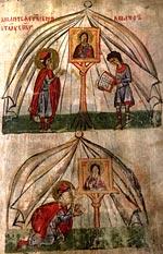 Борис в шатре молится святому Спасу