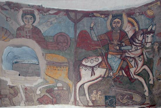 Коптская фреска. Справа: св. вмч. Георгий Победоносец