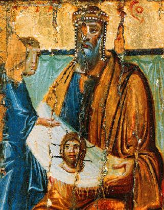 """Авгарь. Икона """"Ап. Фаддей и царь Авгарь с избранными святыми"""". Х в. (мон-рь вмц. Екатерины на Синае). Фрагмент"""