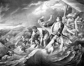 Русский царь Пётр в море при Лахте спасает погибающих солдат