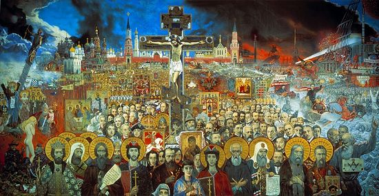 Загрузить увеличенное изображение. 840 x 431 px. Размер файла 181954 b.  И.Глазунов. Вечная Россия. 1988