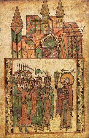 Святой Сергий Радонежский благословляет воинов на войну и окропляет их святой водой