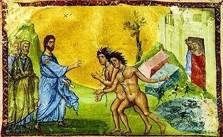Исцеление бесноватых. Миниатюра из Четвероевангелия. Кон. XIII в.