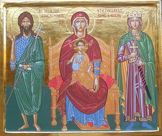 Загрузить увеличенное изображение. 600 x 502 px. Размер файла 81458 b.  Божия Матерь с Иоанном Предтечей и страстотерпцем Этельбертом, королем Восточной Англии. Икона