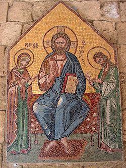 Загрузить увеличенное изображение. 550 x 733 px. Размер файла 259610 b.  Дисис. Мозаика во внутренних галереях храма Филеримской иконы Божией Матери