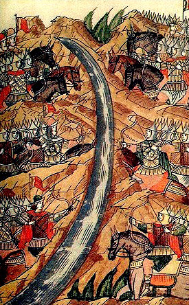 Standoff on the Ugra.1480. Miniature from the 16th c. chronicles.