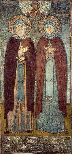 Свв. Петр и Феврония Муромские. Покров на раку с мощами. XVI в.