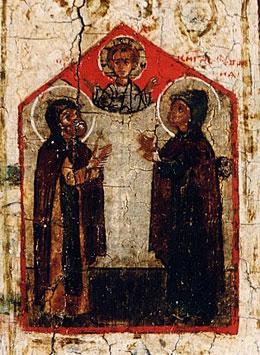 Молитва свв. Петра и Февронии ко Господу за град Муром и всех христиан. Фрагмент клейма