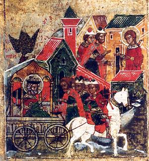 Князя Петра привозят в дом к деве Февронии, которая соглашается исцелить его, если он станет ее мужем. Клеймо иконы