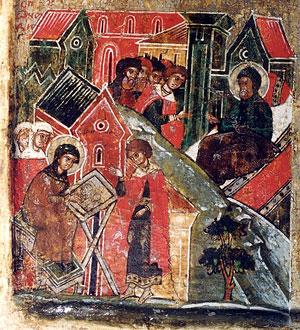 Петр-Давид посылает сказать Февронии-Евфросинии, вышивающий воздух, что умирает. Она просит его подождать, пока не закончит работу. Клеймо иконы