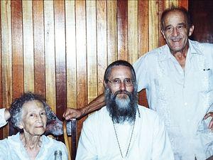 Nicholas Zakharov with Fr. Daniel McKenzie, and his mother, A. A. Porgin-Zakharova