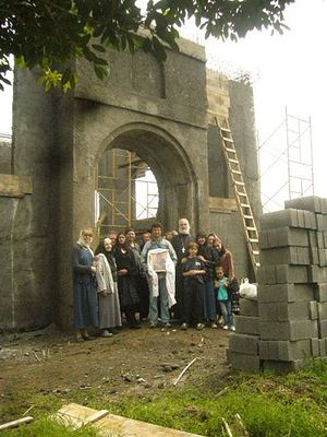 Parishioners at the church construction site.