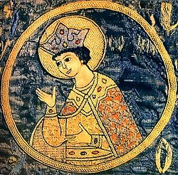 St. Eudocia-Euphrosyne of Moscow. Embroidery detail from a hierarchical vestment. Novgorod.