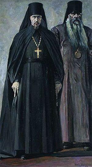 Иеромонах Пимен и епископ Антоний. Павел Корин. 1935 г.