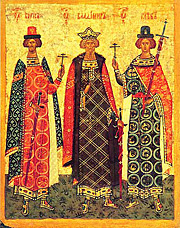 Святые Владимир, Борис, Глеб. Конец XV — начало XVI вв.