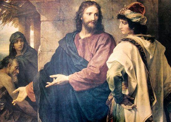 Христос и богатый юноша. Генрих Хоффман.