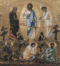 Загрузить увеличенное изображение. 736 x 886 px. Размер файла 311672 b.  Преображение Господне. XII век.