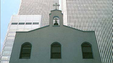 Shown here is the St. Nicholas Greek Orthodox Church near the World Trade Center, before the Sept. 11, 2001, attacks. (Herman Krieger/Greek Orthodox Archdiocese of America)