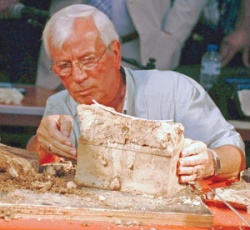 Professor Kazimir Popkonstantinov opens the small alabaster box containing what are believed to be relics of John the Baptist, one of the most significant early Christian saints. File photo.