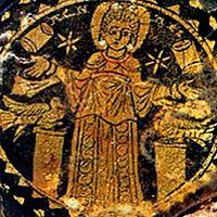 Св. Агнесса в окружении голубей, звезд и свитков Закона. III в. Катакомбы Памфила, Рим