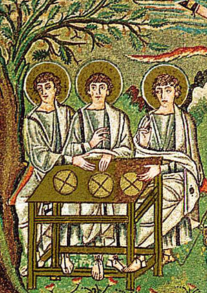 Ветхозаветная Троица. Мозаика из церкви Сан-Витале в Равенне (Италия). Фрагмент. VI в.