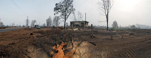 Панорама села Верхняя Верея Выксунского района Нижегородской области. После пожара от более чем трехсот домов осталось лишь несколько построек