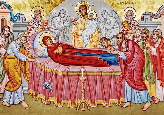 Загрузить увеличенное изображение. 1280 x 430 px. Размер файла 349793 b.  Успение. Фреска М.Морошана в румынском монастыре Путна. <br>Фотография предоставлена братией обители
